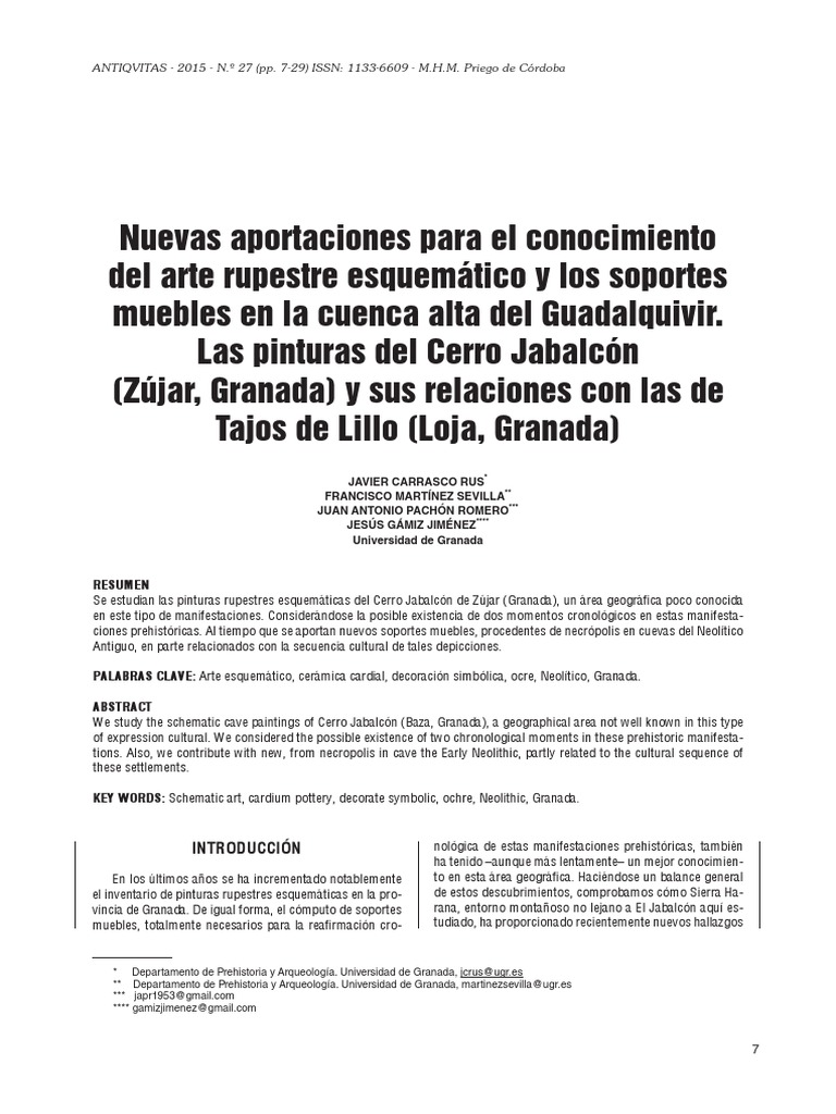 Nuevas Aportaciones Para El Conocimiento Del Arte Rupestre  # Muebles Molina Granada