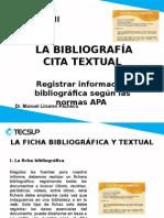 La Bibliografía, Cita Textual