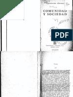 Comunidad y Sociedad. Ferdinand Tönnies