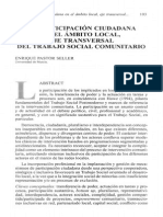 La Participación Ciudadana en El Ámbito Local, Eje Transversal Del Trabajo Social Comunitario