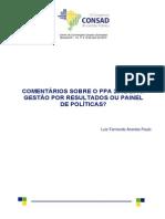 231 Comentários Sobre o Ppa 2012 2015 Gestão Por Resultados Ou Painel de Políticas