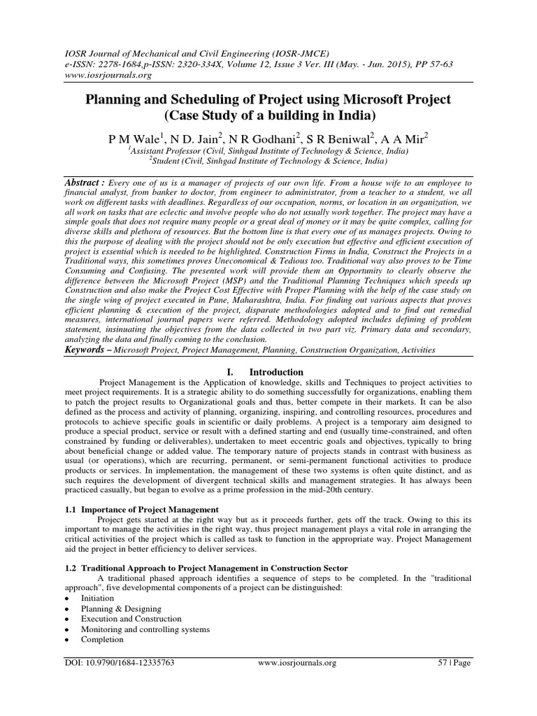Planning and Scheduling of Project using Microsoft Project (Case