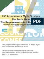 CSU-UC CC14 UC Admission Mythbusters