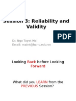 Testing Lecture 3. Validity and Reliability