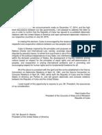 Carta de Raúl Castro a Obama
