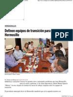 01-07-15 Definen equipos de transición para el relevo en Hermosillo