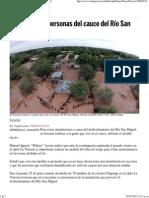 30-06-15 Reubicarían a personas del cauce del Río San Miguel