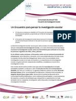 Encuentro de Investigación Escolar 2015 (Comunicado de Prensa 001)