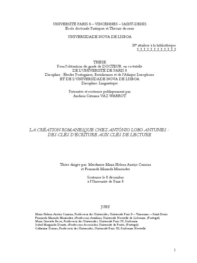 La cration romanesque chez antnio lobo antunes des cls d la cration romanesque chez antnio lobo antunes des cls dcriture aux cls de lecture fandeluxe Image collections