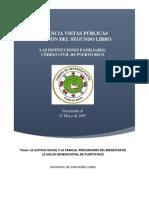 Ponencia Vistas Publicas Revisión Del Segundo Libro Las Instituciones Familiares y La Salud Publica