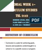 Tutorial Week 1- Curriculum Studies