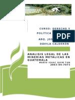 Analisis Legal de Las Minerìas en Guatemala