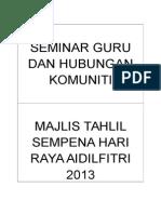 Seminar Guru Dan Hubungan Komuniti