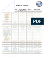 A2 Media Studies Coursework #1 - Production Schedule