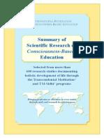 Rezumat al Cercetării Științifice în Educația bazată pe conștiință
