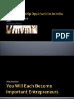 Entrepreneurship Opportunities in India