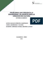 t2-Problemas Que Presenta La Universidad y El Aporte Para La Creacion de Cultura