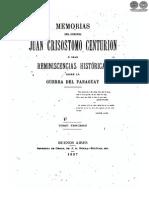 MEMORIAS DEL CORONEL JUAN CRISOSTOMO CENTURION - TOMO TERCERO - 1897 - PARAGUAY - PORTALGUARANI