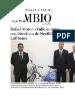 22-06-2015 Diario Matutino Cambio - Rafael Moreno Valle Se Reúne Con Directivos de Nextbike y Lufthansa