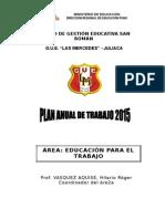 Plan Anual de Trabajo Del Área Educación Para El Trabajo