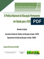 01 a Política Nacional de Educação Permanente Em Saúde Para o SUS