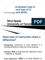 Connections Between Type of Instruction and Type of L2 Knowledge and Ability