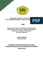 TESIS KEBIJAKAN FORMULASI HUKUM PIDANA DALAM PENANGGULANGAN TINDAK PIDANA KEHUTANAN.pdf