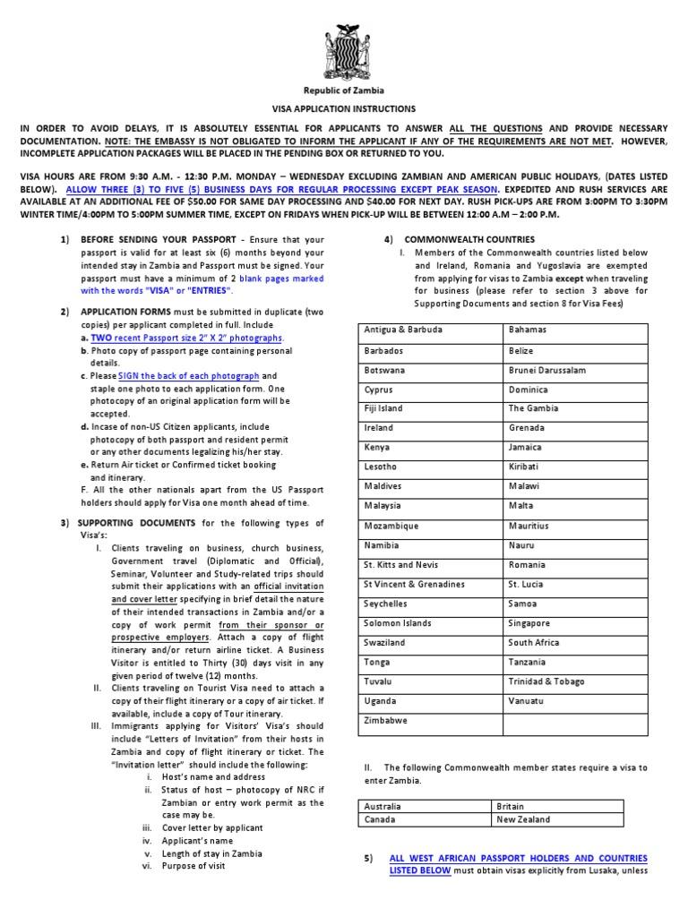 Zambia Visa Application Updated Dec 12 2012 Travel Visa Passport