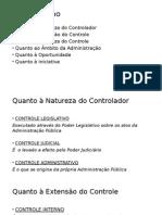 slide classificação do controle administrativo