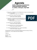 July Subcommittee Agenda 2015