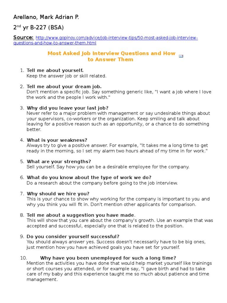 50 top most interview questions job interview self improvement