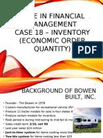 Case in Financial Management-case 18, Bowen Built