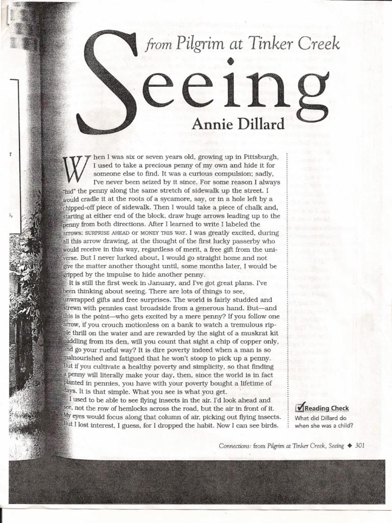 how does the poet annie dillard describe nature? quizlet
