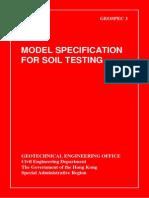 Model Specification for Soil Testing. Geospec 3 Hongkong