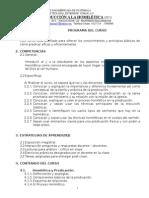Nuevo Silabo o Programa 3025 Del Curso Introducción a La Homiletica.