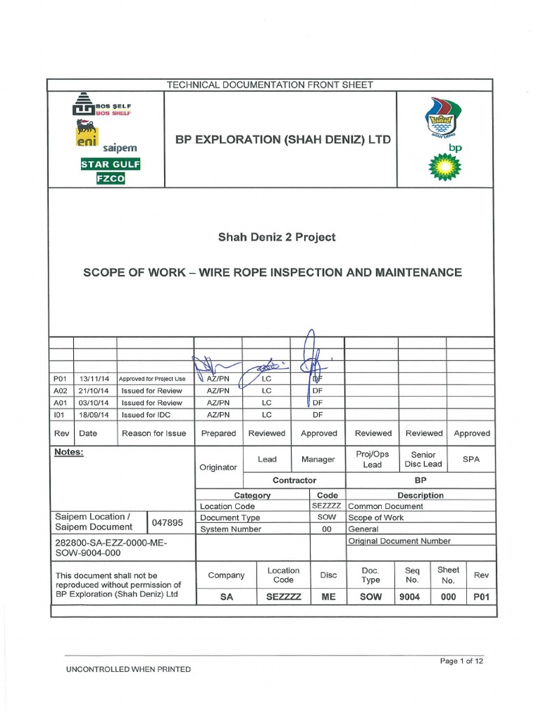 SOW for Wire Rope Inspection and Maintenance | Rope | Crane (Machine)