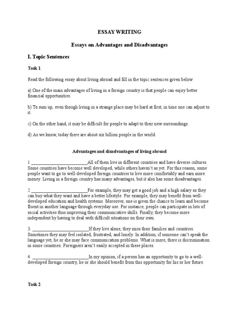 living in the country advantages and disadvantages essay