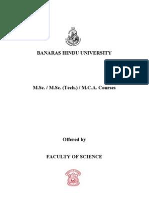 BHU M sc Syllabi | Bachelor Of Science | University And