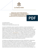 Papa Francesco 20140219 Messaggio 20 Pontificia Accademia Vita