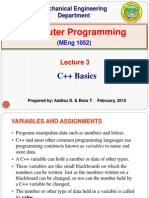 Lecture 3. C++ Basics and Flow Control