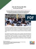 Boletín 031_ Secretaría Departamental de Salud Verifica La Ordenanza de Recaudado de Estampillas en Beneficio Del Adulto Mayor
