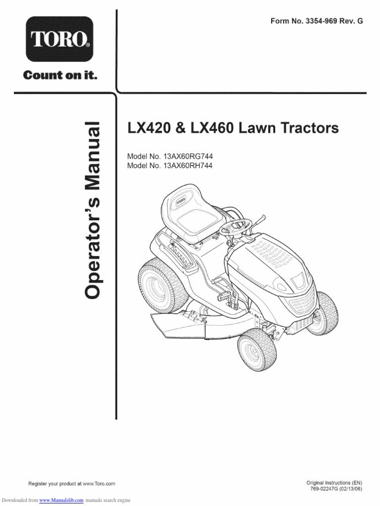 Toro Riding Mower LX460 13ax60rg744 owners manual