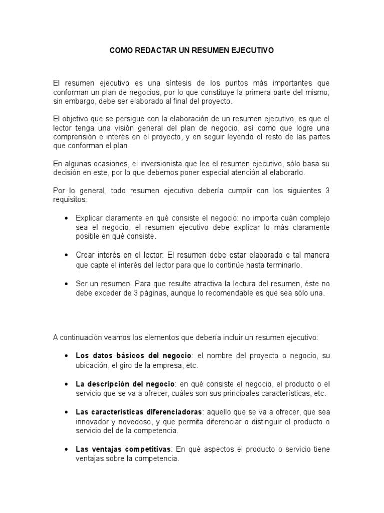 Excepcional Reanudar Consejos De Resumen Ejecutivo Embellecimiento ...