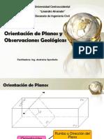 Orientación de Planos y Observaciones Geológicas