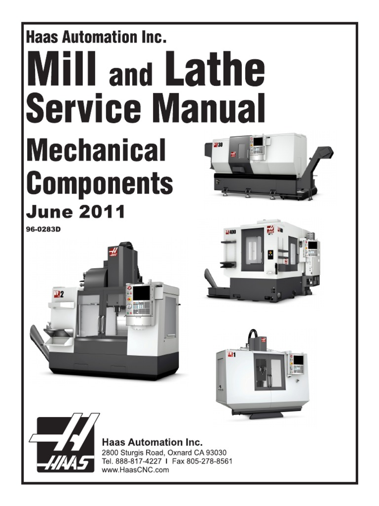 haas 96 0283d english mechanical service manual computing technology rh es scribd com Haas VF-2 Electrical 208 Input Wiring Haas CNC Milling Machines