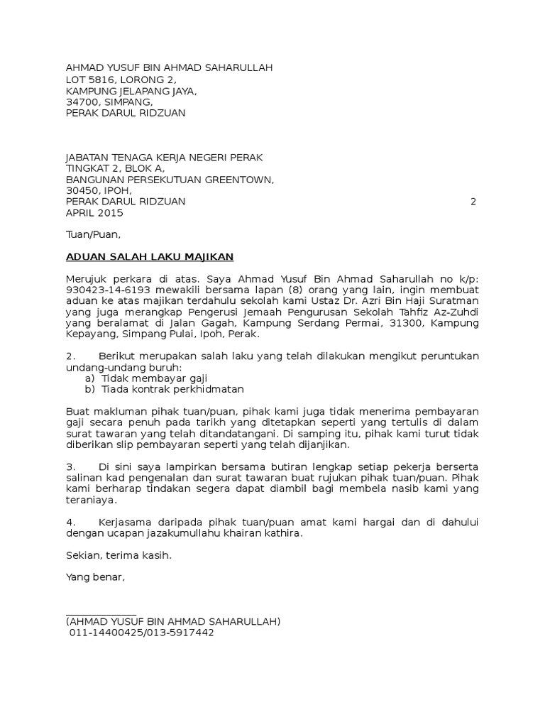 Contoh Soal To Kimia Contoh Surat Aduan Kepada Jabatan Buruh