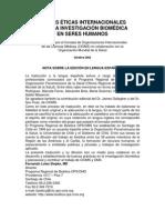 Pautas Éticas Internacionales Para La Investigación Biomédica en Seres Humanos