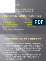 a            Project reportOnmicrobiological practice in pharmaceutical industries