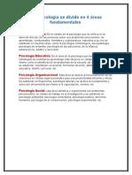 Areas de La Psicologia.