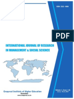 International Journal of Research in Management & Social Science Volume 3, Issue 1 ( I ) January - March , 2015